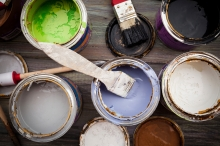 Painting set, paint on a wooden board